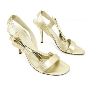 Kate Spade Gold Bow Heels Slingback 7M
